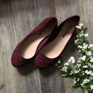 American Eagle Burgundy Faux Suede Ballet Flats